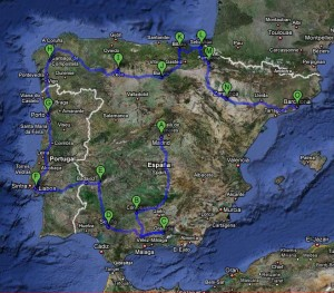 Map of trip through Spain